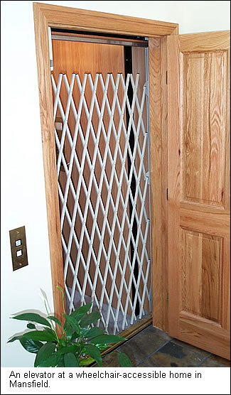 An elevator in a wheelchar accessible home